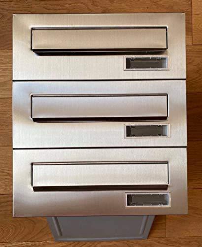 Briefkastensysteme 3er Briefkastenanlage 3x Einbaubriefkästen Edelstahl/Silber Mauerdurchwurf 3 Fach Postkasten modern DIN A4 wetterfeste