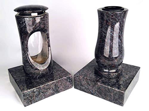 Designgrab Design Petite lampe funéraire avec vase et 2 bases en granit Bleu Orion