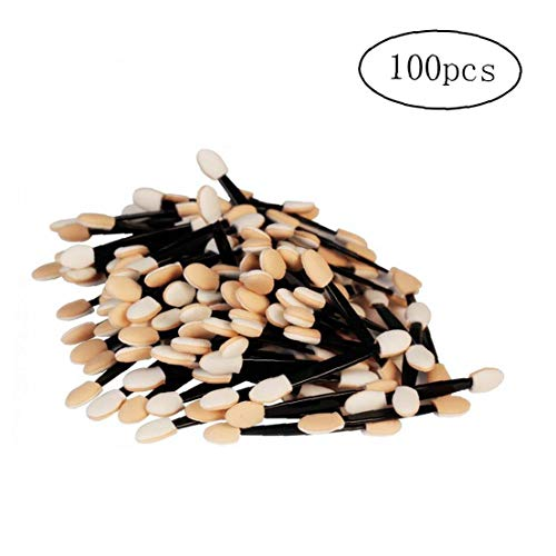 100 PCS jetable double face Ombre à paupières éponge applicateur à pointe ovale eyeliner pinceau de maquillage Kaki Outil