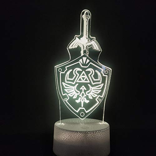 Nur 1 Stück 3D-Lampe Die Legende des Spiels Film Beste Belohnung für Kinder Bunt mit ferngesteuerter LED-Nachtlichtlampe Illusion