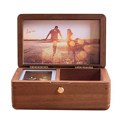 JunMei Caja Musical Personalizada de Madera Vintage con su Foto, joyero, Regalo Personalizado con Foto, Mecanismo de la Caja de música para el Regalo del día de la Madre del día de San Valentín