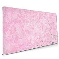 マウスパッド 大型 ピンク 蝶 花柄 背景 グラデーションゲーミング デスクマット かわいい 防水性 耐久性 滑り止め 多機能 超大判 40cm×90cm おしゃれ