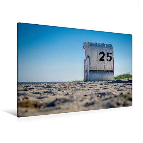 CALVENDO Premium Textil-Leinwand 120 x 80 cm Quer-Format Strandkorb in Hooksiel im Landkreis Friesland, Leinwanddruck von Marlen Rasche
