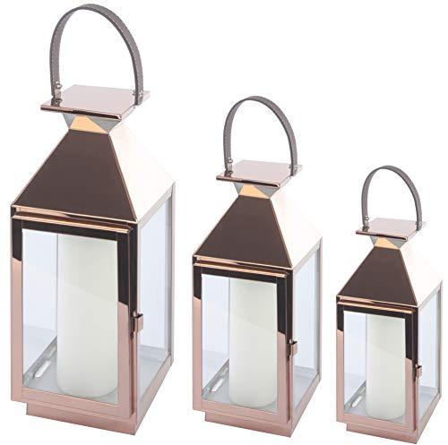 Bingo-Shop Laterne 3er Set XXL Gartenlaterne Metall Windlicht Laternen Kerzenhalter Set Kerzenleuchter F36