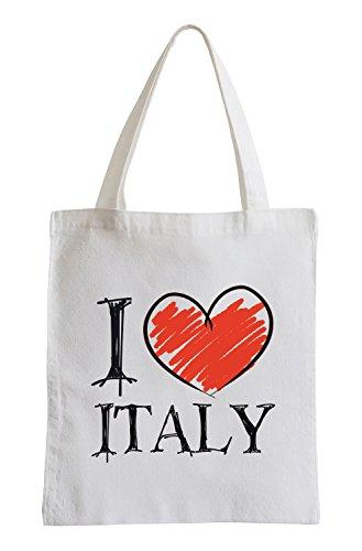 Pixxprint Io Amo l'Italia Fun Sacchetto di Iuta