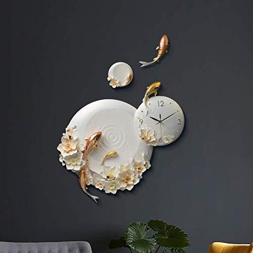 Wandklok wandklok, hars decoratieve wandklok moderne en eenvoudige kunst klok woonkamer delen stille kwartsklok kleine gestileerde vissen 63x62cm25x24inch goud