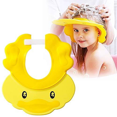 FANDE Duschhaube Kinder, 1Pcs Einstellbare Baby Duschhaube, Shampoo Schutz für Kinder Ohren, Kinder Shampoo Kappe, Duschhaube Baby, für 0-9 Jahre-Blau Gelb