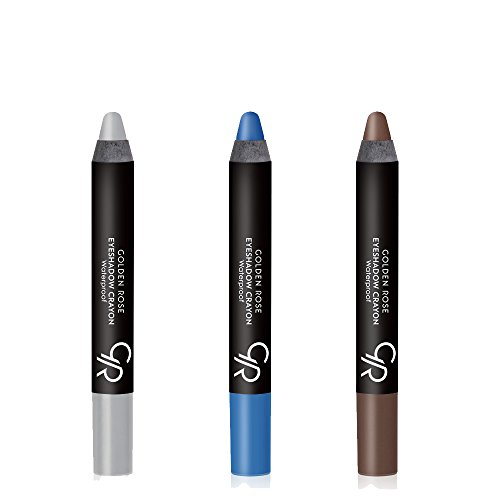 Golden Rose Creamy Eyeshadow Crayon 3-Piece Set for Blue Eyes