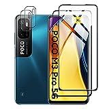 Protector de Pantalla para Xiaomi POCO M3 Pro 5G/Redmi Note 10 5G Cristal Templado Protector de lente de cámara para POCO M3 Cámara, [Cobertura máxima][Sin Burbujas] HD Cristal Vidrio Templado -Black