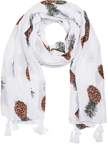 styleBREAKER Schal unifarben mit Ananas Print und Quasten, Tuch, Stola, Pareo, Damen 01016163, Farbe:Weiß