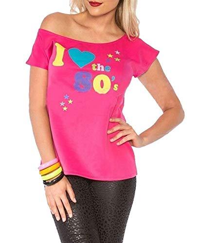 Deluxe I Love The 80's Damen T-Shirt Pop Star Pink Top-Kostüm Sexy Retro #klein