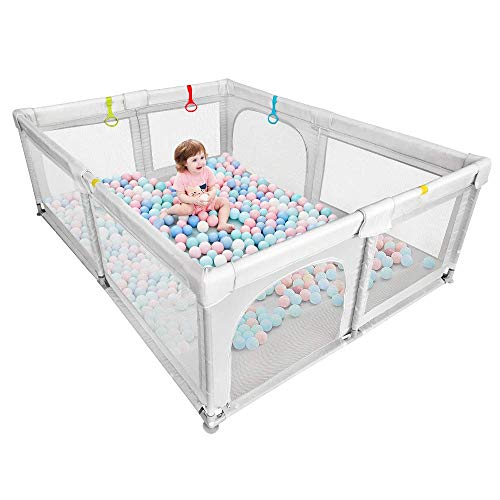 Baby Playpen Portable Kids Safety Play Center Yard Home Indoor Fence Anti-Fall Play Pen, Playpens for Babies, Extra Large Playard, Anti-Fall Playpen Gray
