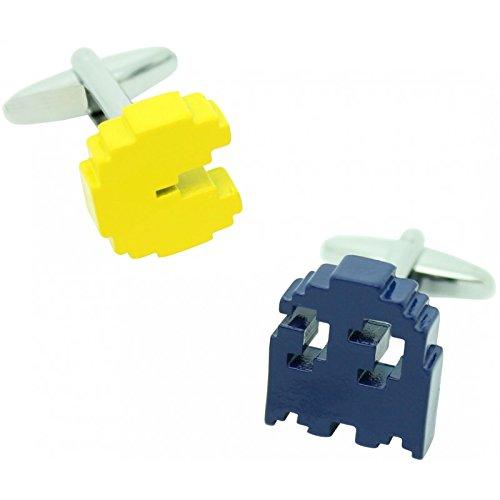 masgemelos Manschettenknöpfe Pacman gelb und blau Cufflinks