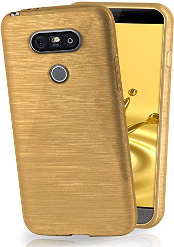 MoEx Cover in Silicone Compatibile con LG G5 | Effetto Alluminio Spazzolato, Oro