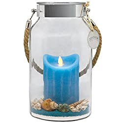 Dekovita Geschenkidee 30cm Dekoglas LED-Echtwachs Kerze blau m. bewegter Flamme u. Deko-Sand Ostern Muttertag Geburtstag