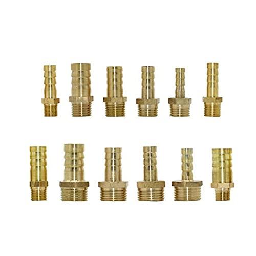 FSALFWUYIHDSF Accesorio de tubería de latón 4 mm 6 mm 8 mm 10 mm 12 mm Conector de púa de Manguera 1/8'1/4' 1/2'3/8' 3/4'Conector de Cobre de Rosca Macho jardín 2pcs-3/4 '', 10 mm