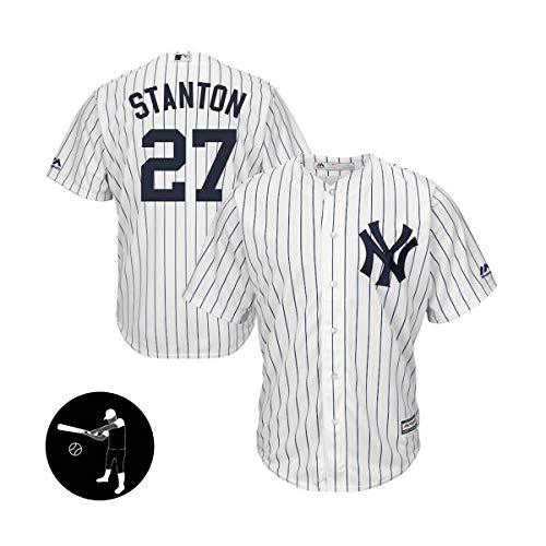 BUY-TO Herren Trikots Baseball Shirt Sweatshirt T-Shirts Yankees # 27 Stanton,White,Men-L
