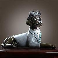彫像の彫刻人工動物の装飾品庭の装飾ホームパイロット犬樹脂アートワークホームテーブルキャビネットアートデスクトップフィギュアオフィスカー