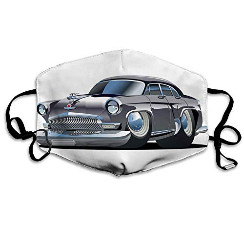 Mundschutz, Retro-inspiriertes Autodesign mit asymmetrischen Reifen, schnelles Auto, Cooles Logo, Mund-Muffel