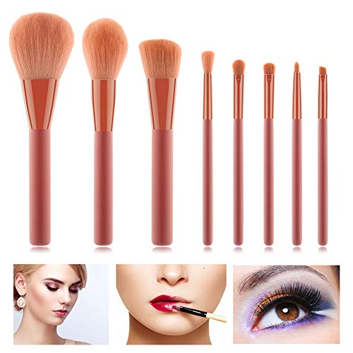 HZD 8Pcs Makeup Brushes Cosmetic Brushes for Foundation Powder Blush Concealers Eye Shadows Kit,Black