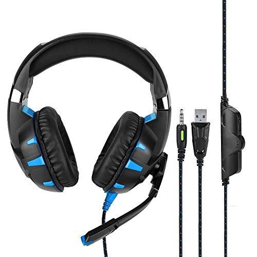 WHSS Gaming Headset Estéreo De 3,5 Mm USB LED Auriculares Bajos Competitiva PC Gaming Headset con Micrófono Auricular For Juegos De Deportes Electrónicos Auricular con Cable (Rojo/Azul)