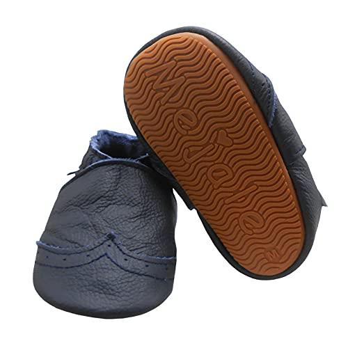 Mejale Zapatillas de piel suave con suela de goma para bebés y niños pequeños, azul marino, 19/20 EU