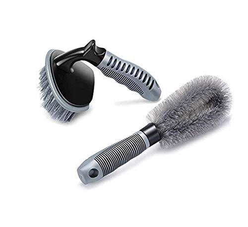 Cepillo de limpieza de ruedas de coche HDMI SM, 2 piezas de nailon con mango suave de acero hueso, herramienta de limpieza de llantas para coche, motocicleta o bicicleta, cepillo de limpieza y mantenimiento de óxido