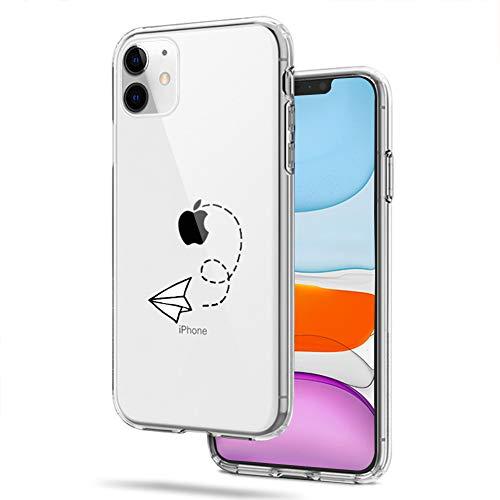 CICIBER Kompatibel mit iPhone 11 Hülle Silikon HandyHülle Papierflieger Muster Transparent Weich TPU Schutzhülle Ultra Dünn Stoßfest Antikratz Hülle Cover - Papierflieger