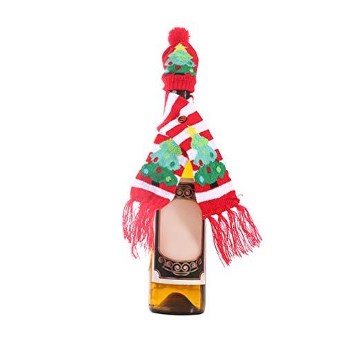 Happyyami Weihnachten hässliche Pullover Weinflasche Abdeckung gestrickt Weinflasche Schal Hut Weihnachtsbaum Dekoration Weihnachtsfeier Tischdekoration