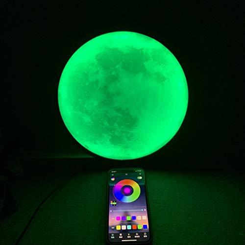 Lámpara de Luna RGB Regulable Lámpara de Mesa LED Control de Aplicaciones Sincronizar con Música Alimentación USB 2 piezas