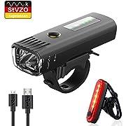 Pezimu Fahrradlicht USB Wiederaufladbare Set - Fahrradlichter StVZO Zugelassen LED Fahrradbeleuchtung mit Lichterkennungsmodus - Wasserdicht Frontlicht Rücklicht Fahrradlampe Set