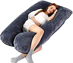 COMHO Full Body Pregnancy Pillow, U Shaped Maternity Pillow with Removable Velvet Cover, Support Back/Neck/Head - Gray