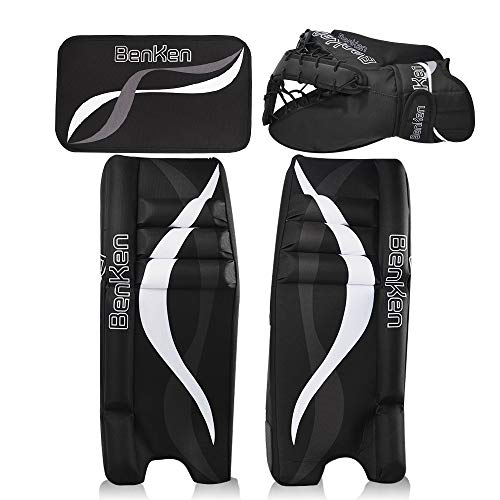 "BenKen Sport Eishockey Torwart Set für Kinder & Teenager | Hockey Torwart Fanghand Handschuhe | Feldhockey Schienbeinschoner | Hockey Blocker (schwarz, 24"")"