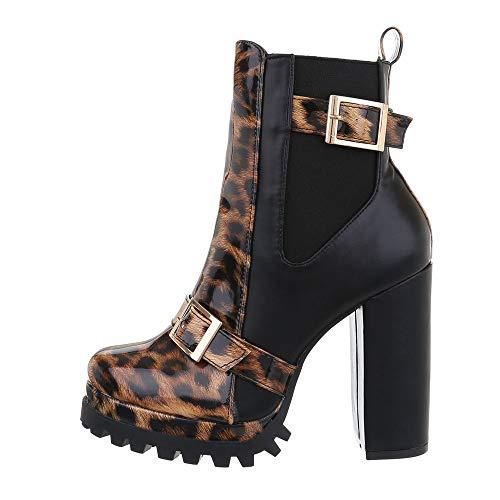 Ital-Design Damenschuhe Stiefeletten High Heel Stiefeletten Synthetik Leo Multi Gr. 37
