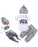 Newborn Baby Boy Clothes Baby Bear Letter Print Romper+Long Pants+Hat 3PCS Outfits Set White