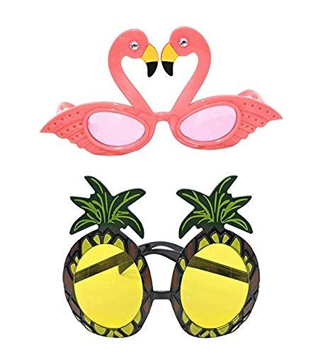 2 gafas de sol hawaianas tropicales de piña y flamenco, gafas de sol hawaianas, fiestas de frutas, accesorios de disfraces para Hawaii Luau fiestas, playa, piscina, fiestas, decoraciones