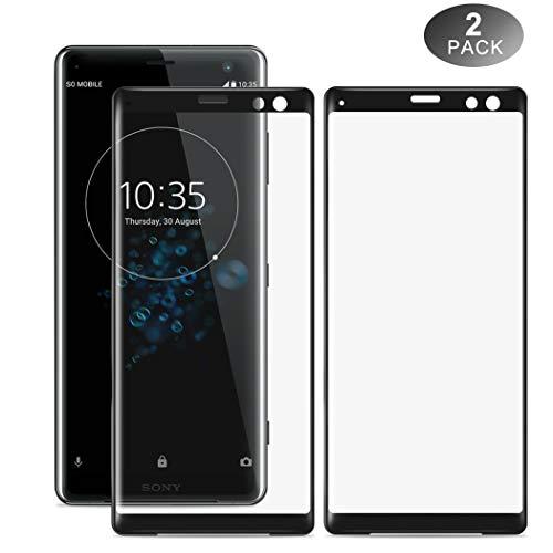 Sony Xperia XZ3 Screen Protector, Foluu Full Coverage 9H Hardness 3D Clear Anti-Fingerprint Bubble-Free High Responsivity Tempered Glass Screen Protector for Sony Xperia XZ3 Phone [2-Packs]