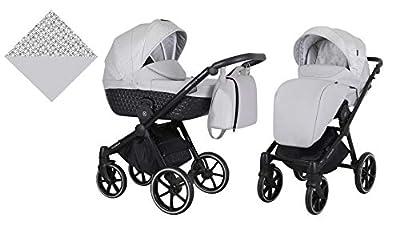 Kunert cochecito de bebé TALISMAN silla de paseo silla de coche asiento de bebé juego completo 2 en 1 (Gris, Color del marco: Negro, 2en1)