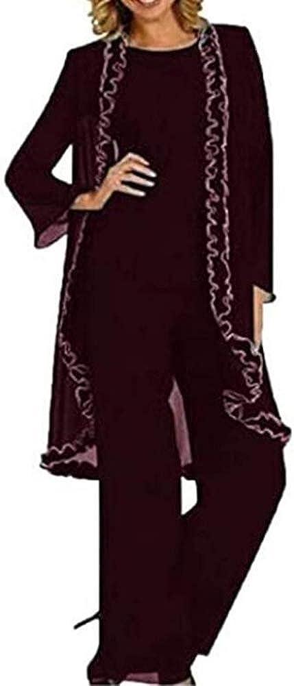 Women's Chiffon 3 Piece Mother of The Bride Dress Suit Plus Size Outfit for Wedding Suit