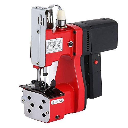 MaquiGra Máquina de Coser Portátil Eléctrica para Cerrar Bolsas Profesional Cosedora de Sacos Alta Velocidad y Coser rápido (Rojo)