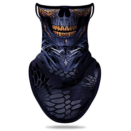 NTBOKW Bandana Face Mask with Ear Loops Neck Gaiter Mask for Men Women (Skull G0113)