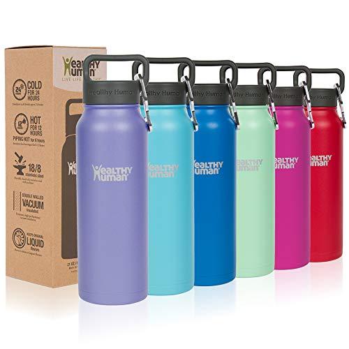 Santé humaine bouteilles d'eau – froid 24 heures chaudes 12 heures. Thermos en acier inoxydable à double paroi Thermos Stein Gourde avec mousqueton et Hydro Guide, lilas