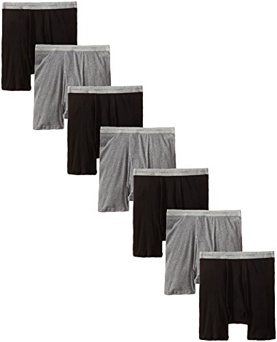 Hanes Men's 7-Pack Boxer Brief, Black/Grey, X-Large