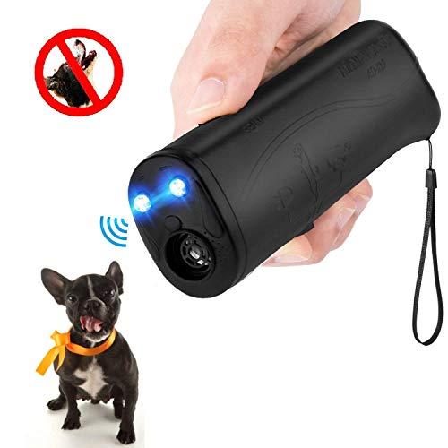 MEIREN Black Handheld Dog Repellent & Trainer, Dual Ultrasonic Anti Barking Device