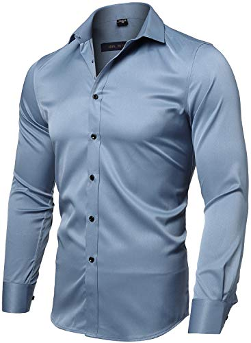 FLY HAWK Mens Fiber Casual Button Up Slim Fit Collared Formal Shirts, Greyish Blue Button Down Shirt