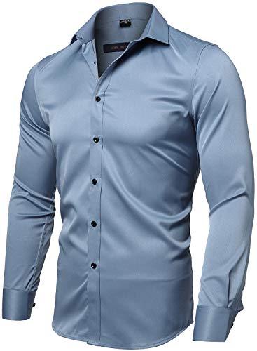 INFLATION Herren Hemd Aus Bambusfaser umweltfreudlich Elastisch Slim Fit für Freizeit Business Hochzeit Reine Farbe Hemd Langarm Herren-Hemd, Gr.L (Etikette 42), Graublau