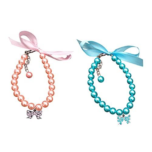 2 Piezas Collar De Perro Collar De Perlas Collar De Amor Colgante De Gato y Perro Collares Decorativos Adecuados para Perros Pequeños y Medianos