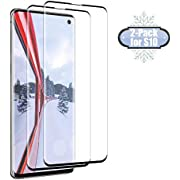 S10 Screen Protector Tempered Glass for Samsung Galaxy S10 Case Friendly 9H Hardness 3D Curved HD Coverage [Fingerprint ID Enabled] [2-Pack]a1