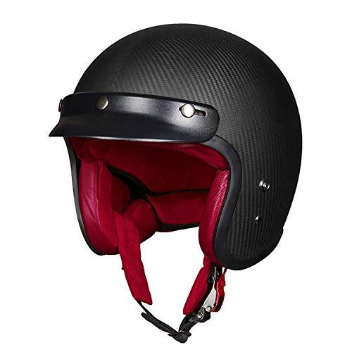 Retro Motorcycle Harley Helmet Carbon Fiber Leather Lightweight Men and Women Best DOT ECE Certification Personality Half Helmet Modular Sun Visor Opening Motorcycle Bicycle Black Helmet,XXL