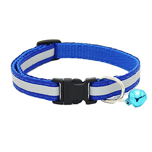 Ltong Colorful Cute Dog Pet Glossy Reflective Collar Safety Buckle Bell Strap   Verstelbare riem, royal, S